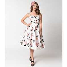 Stop Staring! 1950s Style White & Pink Rose Print Swing Dress ($188) ❤ liked on Polyvore featuring dresses, white dresses, retro swing dress, white floral dress, white pinup dress and vintage pink dress