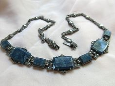 Vintage Deco Sterling Choker Style Necklace Sodalite and Marcasites Sterling Germany