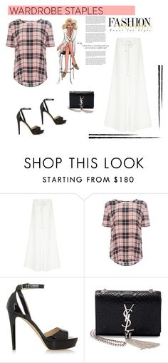 """Fashion!"" by tatajrj ❤ liked on Polyvore featuring Rosie Assoulin, Haze, Equipment, Jimmy Choo, Yves Saint Laurent, StreetStyle, plaidshirt and polyvorecontest"