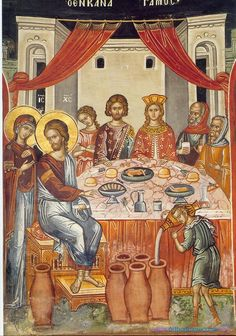 Icon of The Wedding In Cana. Jesus' first miracle when He turned water into… Byzantine Icons, Byzantine Art, Religious Icons, Religious Art, Religious Pictures, Life Of Christ, Jesus Christ, Sculpture Art, Sculptures