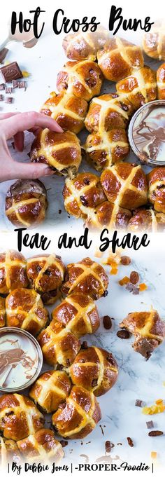Easter hot cross buns tear and share with milk and white chocolate sauce dip