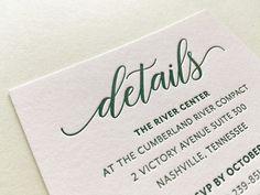 The Kylie Suite - Sample Letterpress Wedding Invitations - details card - Wedding Invitation Samples, Letterpress Invitations, Handmade Wedding Invitations, Letterpress Wedding Invitations, Pink Invitations, Wedding Invitation Design, Wedding Stationery, Indian Wedding Cards, Kylie
