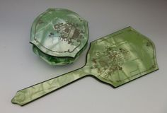 Antique Celluloid Vanity Set Mirror Trinket Pin Dish Vintage Dresser Green