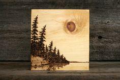 Lakeside Sun  Art Block  Wood Burning by TwigsandBlossoms on Etsy, $47.00