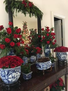 Holiday Love round - The Enchanted Home Southern Christmas, Blue Christmas, Christmas Home, Christmas Holidays, Christmas Ideas, Red Centerpieces, Christmas Centerpieces, Xmas Decorations, Christmas Tablescapes