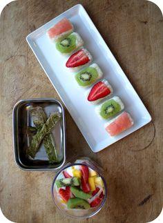 "Easy lunch box ideas: fruit ""sushi""; roasted chimichurri pork tenderloin; and a fruit and yogurt parfait. http://www.LunchBoxBlues.com"