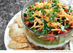 Guilt free gluttony with this light seven layer dip.