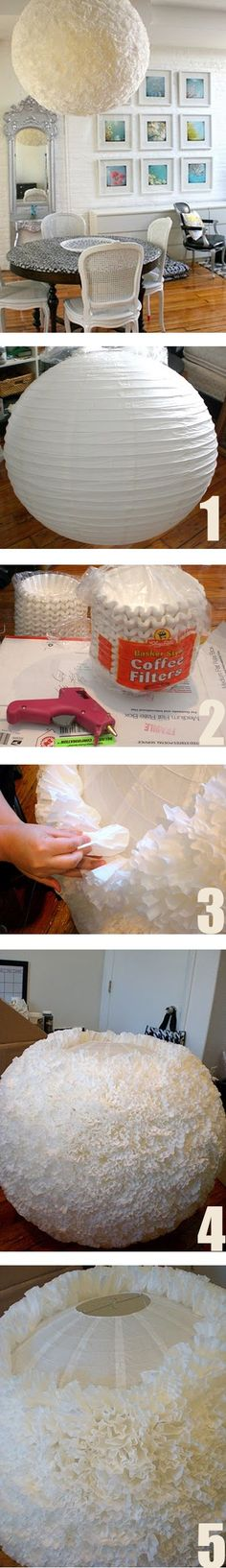 DIY light shade hack Looks like a big ball of flammable fluff... Maybe in the bedroom for softer lighting.