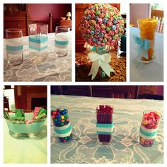 DIY Tiffany's-inspired decorations using Tiffany-blue and white streamers for patterned stripes, bows, and more! Also lay a Tiffany-blue plastic tablecloth under a lace tablecloth for an elegant flair. Pictures courtesy of myself. Supplies courtesy of Katherine Pajewski for her Sweet Sixteen.
