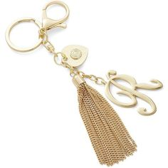 R.J. Graziano R Initial Tassel Keychain ($17) ❤ liked on Polyvore featuring accessories, gold, keychain key ring, ring key chain, tassel key ring, fob key chain and key chain rings