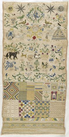 Mexican Sampler ~ circa 1785 ~ Textiles; embroidery ~ Linen plain weave with silk and metallic thread embroidery, drawn work, needle lace, and sequins ~ LACMA Collections ~ This eighteenth century Spanish colonial example illustrates the common format that consisted of a long narrow strip of linen or cotton decorated with horizontal border patterns that divided the sampler into quadrants filled with random motifs.