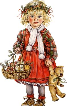 "The blogger calls her ""Little Red Riding Hood."" I think she's a Christmas child with a wreath of holly on her head and a basket of goodies/gifts. You may see something else in the image . . ?"