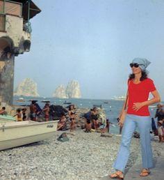 Jackie in Capri beach, marina piccola