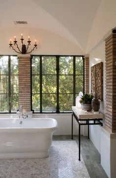 Unique Bathroom Ideas - Discover home design ideas, furniture, browse photos and plan projects at HG Design Ideas - connecting homeowners with the latest trends in home design & remodeling Modern Luxury Bathroom, Master Bathroom Design, Free Standing Tub, Bathroom Styling, House Styles, Brick Columns, Bathroom Design Luxury, Bathroom Design, Beautiful Bathrooms