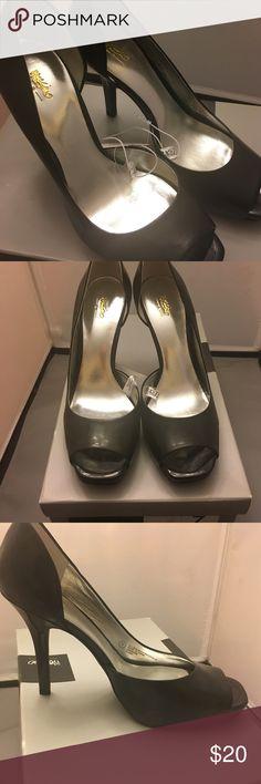 Black patent open toe pump NIB! Massimo  half d'Orsay, black patent, open toe pump, 4 inch heel, front hidden platform. Very sexed up! NIB! Mossimo Supply Co. Shoes Heels