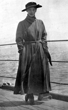 Grand Duchess Xenia Alexandrovna on board the HMS Marlborough, which evacuated members of the Romanov Imperial Family, Yalta, April, 1919.