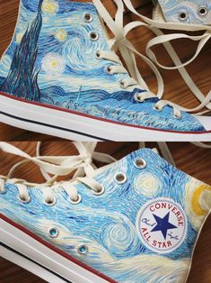 Reminded me of converse high song and taehyung's love for van Gogh :) .Custom hand painted 'Vincent van Gogh' Starry Night and Cypresses high top 'Converse' shoes Painted Converse, Painted Toms, Hand Painted, Converse Sneakers, Vans Shoes, High Top Sneakers, Shoes Tennis, Converse Wedges, Converse High