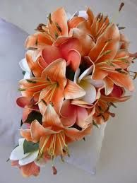 Tiger Lily Wedding Bouquet- Starfish Wedding Bouquet- Tangerine ...
