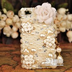 Noble pearls and rose cell phone cover iphone 4s 4 3gs by emma999, $36.95