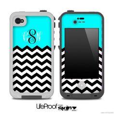 Custom Monogram turquoise Black White Chevron Pattern Skin for the iPhone 4/4s or 5 LifeProof Case on Etsy, $9.99