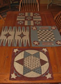 Idea: make gameboards from painted canvas floor cloth fabric.