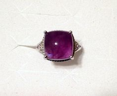Amethyst Ring Cabochon w/ diamond accents in Sterling Silver (Size 6) 8.24 ctw. #Cocktail