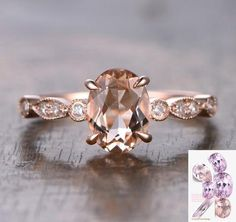 Oval Morganite Engagement Ring Pave Diamond Wedding 14K Rose Gold 6x8mm Art Deco - Lord of Gem Rings - 1