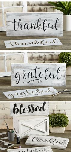 Grateful, Thankful, Blessed Stencil Set | Large Beautiful Calligraphy Stencils for Painting on Wood, DIY Farmhouse Decor, Create Rustic Word Stenciled Signs #grateful #thankful #farmhouse #farmhousestyle #signs #rustic #homedecor #diy #stencils #diysigns  #giftideas #affiliate
