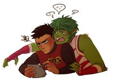 """""""And because and I seemed to have had the same idea at the exact same time, I also commissioned an adorable piece of our ship for Gar and Damian from the amazing You can. Teen Titans Love, Teen Titans Robin, Teen Titans Fanart, Batman Comic Art, Gotham Batman, Batman Comics, Batman Robin, Damian Wayne, Nightwing"""