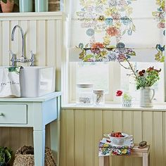 Floral country bathroom with blue washstand