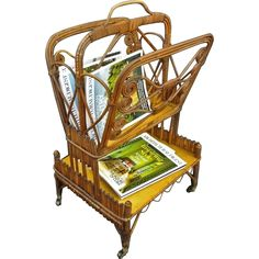 Antique Rattan / Wicker Canterbury Magazine / Newspaper Rack on Casters - c.