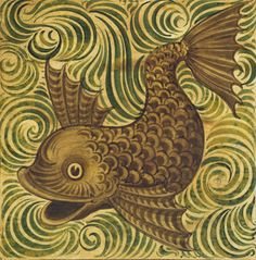 A stylized dolphin tile by English potter William de Morgan, key figure in the Arts & Crafts movement. © Victoria and Albert Museum / V Prints