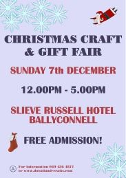Christmas craft and gift fair held annually in the Slieve Russell Hotel, Ballyconnell, Cavan. Approximately 60 tables of handmade crafts, supplies & gifts. Event Organization, Event Calendar, Craft Gifts, Handmade Crafts, Christmas Crafts, December, Pdf, Events, Poster