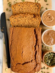 The Best Gluten-free Pumpkin Bread made with healthy and simple ingredients for the easiest dairy-free, refined sugar-free pumpkin bread ever! Gluten Free Pumpkin Bread, Gluten Free Baking, Vegan Gluten Free, Dairy Free, Gluten Free French Bread, Pumpkin Chocolate Chip Bread, Sugar Pumpkin, Pumpkin Pumpkin, Pumpkin Dessert