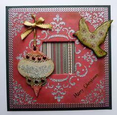 'Merry Christmas Bauble'  MDF Charm Kit.  _ Imagination Craft's- 'Christmas Bauble' MDF charm kit. Silver Gilt Sparkle Medium. Magi-glaze varnish. Magi-bond glue. 'Fleur de-lis' stencil. Metal Spatula.Silver mica powder.    June 2013.
