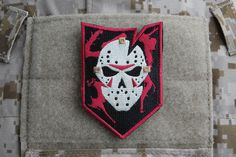 ITS Friday The 13th Morale Patch - Quell your superstitions with our Friday the 13th Morale Patch! Featuring an ITS Goalie Mask and a splatter design in the background, these 2.5″ wide x 3.5″ tall morale patches feature a hook-velcro backing to stick them wherever you want. The velcro is also easily removable with a seam ripper, if you'd prefer to sew them on. http://itstac.tc/1cd1mPS