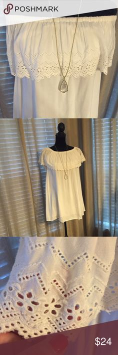 Billabong surfer girl eylet top. Size S White eyelet elastic neck top. Can be used as a coverup. Gently worn Billabong Tops Blouses