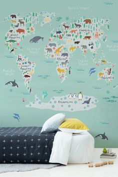 Safari Kids Map Mural Wallpaper Are you decorating your kid's bedroom? This illustrated world map is completely unique and is guaranteed to put a big smile on any child's face. Baby Wallpaper, World Map Wallpaper, Wallpaper Ideas, Kids Bedroom Wallpaper, Children Wallpaper, Bedroom Artwork, Bedroom Murals, Baby Bedroom, Home Decor Bedroom
