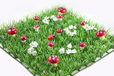 Red and pink flower and mushroom mats available online here: http://butterflygardenforkids.com.au/products/grass-mats