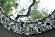 Black and White   Round Mosaic Mirror  by GreenStreetMosaics, $175.00