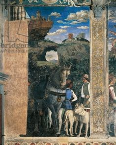 Horse, mastiffs and grooms of Count Ludovico Gonzaga, detail from Meeting Wall, by Andrea Mantegna (1431-1606), fresco, San Giorgio Castle, Wedding Chamber or Camera Picta, Mantua,1465-1474