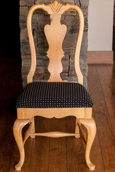 AFTER: Newly re-upholstered dining room chair (1 of 6).