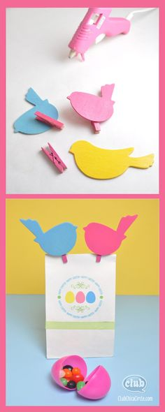 Colored Wood Birds and Clothespin gift bag craft idea - free printable and instructions on how to print right on the bag! Great Easter gift idea for teacher.