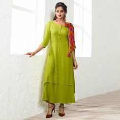 Wholesale Designer Party Wear Long Kurti Collection With Cotton Scarf Plain Kurti Designs, Kurti Neck Designs, Designer Scarves, Designer Dresses, Designer Kurtis, Stylish Kurtis, Fancy Kurti, Punjabi Fashion, Kurti Collection