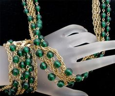Signed Kramer of New York Emerald Green Bead Set Gold Necklace Bracelet Vintage | eBay