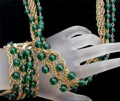 Signed Kramer of New York Emerald Green Bead Set Gold Necklace Bracelet Vintage | eBay