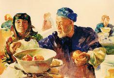:Brian Baxter: The Market, Uzbekistan Pomegranate, Faces, People, Painting, Art, Art Background, Granada, Painting Art, Pomegranates