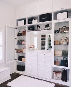 """""""We recently installed a custom-built closet (chandelier coming soon! I love the crystal drawer knobs and the all-white shelves. Dream Closet Design, House Interior, House Rooms, Home, Closet Decor, Dressing Room Design, Bedroom Design, Closet Chandelier, Home Decor"""