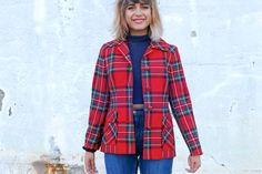 Red Fougstedts jacket with checkerboard pattern by Troll2Treasure on Etsy