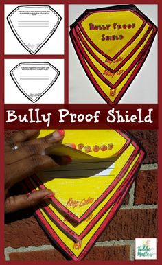 Twenty five percent of public schools report that bullying among kids happens on a daily or weekly basis.  Given these statistics, it is important that parents, teachers, and counselors teach children what to do in the event that they are bullied.  This bully proof shield activity is a great way to get the conversation.  This activity can be used with other bullying prevention programs..